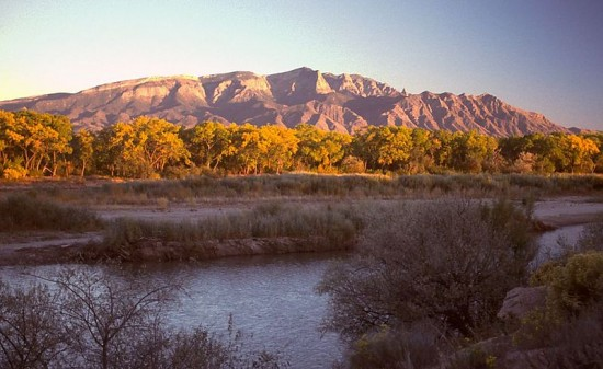 The Sandia Mountains and Rio Grande at sunset, looking southeast from Bernalillo