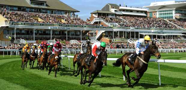 Pic Andrew Teebay. Story Newsdesk. Liverpool day At Aintree....... Packed stands for the first race,The BGC Partners Liverpool Hurdle Race.......